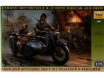 Motor, German Motorcycyle R12 with Ridel and Officer, skala 1:35, Zvezda 3607