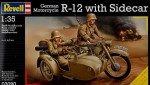 Motor + figurki, German Motorcycle R-12 with Sidecar, skala 1:35, Revell 03090
